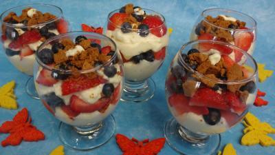 Recette Mascarpone aux fraises et aux myrtilles