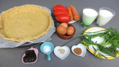Ingrédients pour la recette : Tarte aux carottes et aux tomates