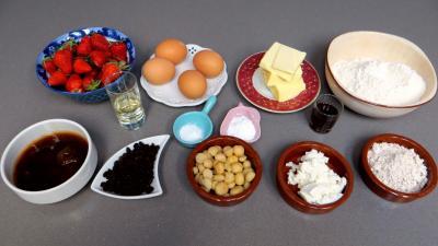 Ingrédients pour la recette : Cake aux fraises