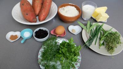 Ingrédients pour la recette : Kouign patatez (patates douces) revisité