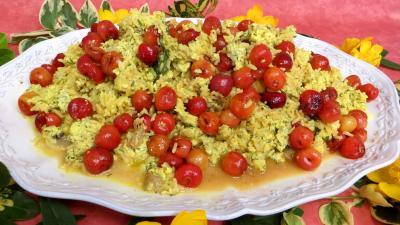 plat complet : Assiette de risotto aux cerises