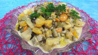 haricots beurre : Plat de sauté de potimarron et légumes