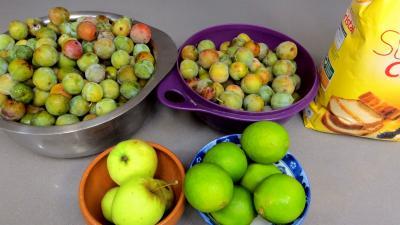 Ingrédients pour la recette : Confiture de reines-claudes aux citrons verts