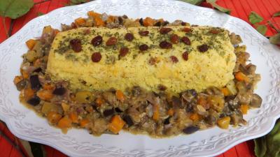 coriandre feuilles deshydraté : Plat de polenta aux légumes