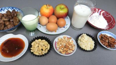 Ingrédients pour la recette : Clafoutis aux pommes et châtaignes