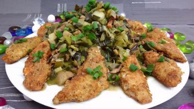 Poissons : Assiette de rougets panés aux poireaux