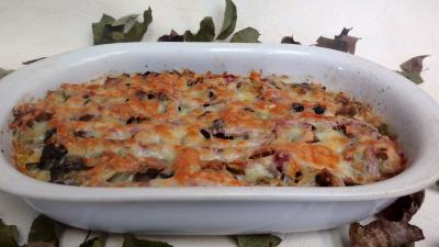 jambon blanc : Plat de poireaux gratinés au four