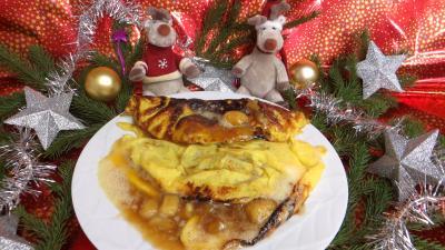 Image : recette Omelette à la banane caramélisée