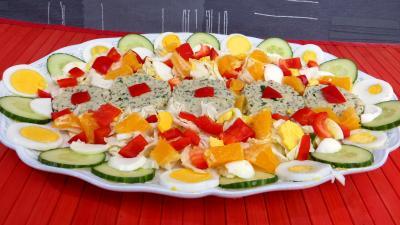Entrées froides : Reste de perche en salade