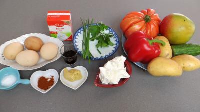 Ingrédients pour la recette : Sauce relevée et sa salade