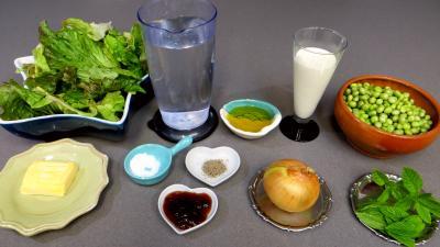 Ingrédients pour la recette : Crème de pois frais à la menthe