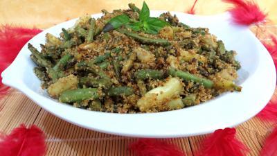 haricots verts : Plat de haricots à l'ail