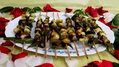 poivron rouge, vert, jaune : Brochettes de légumes à la plancha