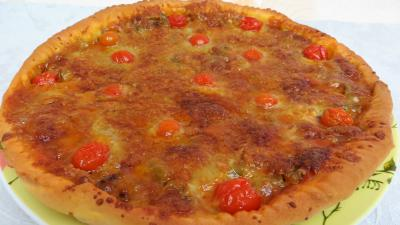 Légumes : Assiette de pizza aux oignons et au bleu