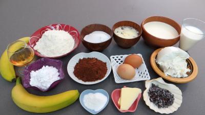 """Ingrédients pour la recette : Gâteau choco-bananes """"taupinière"""""""
