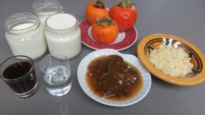 Ingrédients pour la recette : Kakis au yaourt