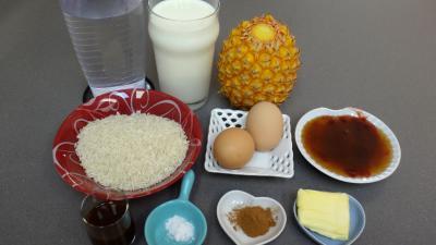 Ingrédients pour la recette : Gâteau de riz aux ananas