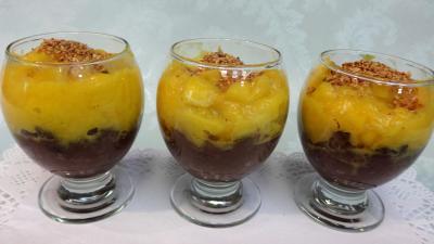 kaki : Verrines de boudin à la mangue