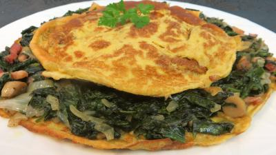 poivre noir : Assiette d'omelette aux épinards