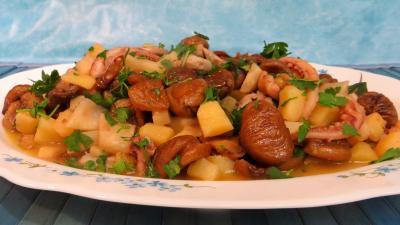 Image : recette Chou-rave, châtaignes aux encornets