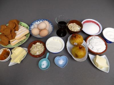 Ingrédients pour la recette : Cheese cake aux poires