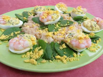 Oeufs : Oeufs mimosa aux crevettes