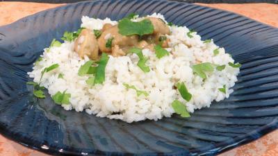 farine : Assiette de blanquette de dinde au lait de coco