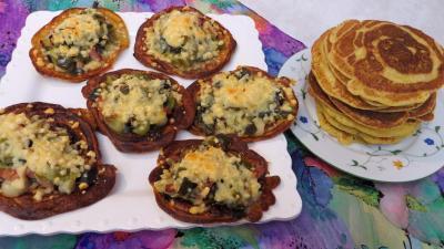 Entrées chaudes : Assiette de blinis aux poireaux