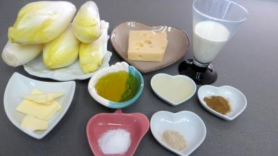 Ingrédients pour la recette : Braisé d'endives à l'emmental