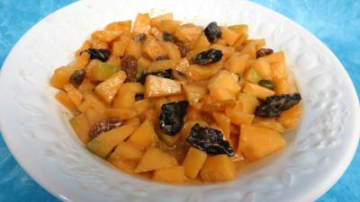 pistache : Saladier de salade de melon au caramel