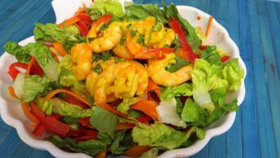 Recettes rapides : Saladier de gambas en salade