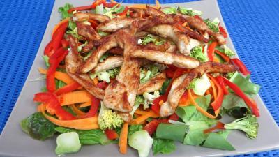 Cuisson à la poêle : Plat de blancs de poulet en salade
