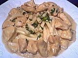 Image : Assiette de dés de poulet au gorgonzola