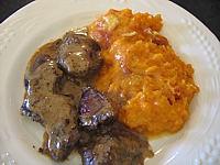 Recette Assiette de gratin de patates douces au chaource