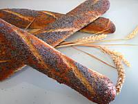 baguette : Baguettes de pain en direct aux graines de pavot