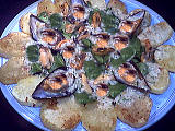 Recette Salade d'épinards tièdes aux moules et son coulis de ciboulette