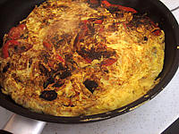 Recette Omelette aux oignons et au poivron