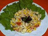 salade de riz : Assiette de salade de riz au thon