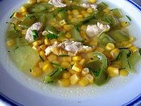 Recette Assiette de potage aux poivrons et maïs