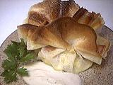 Recette Aumônières aux pommes de terre et coulis de banane
