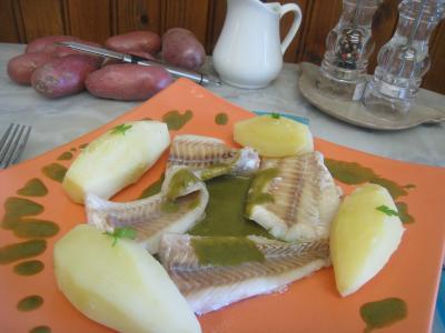 mâche : Plat de colin en sauce verte