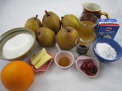 Ingrédients pour la recette : Poires au cidre et sa crème fouettée
