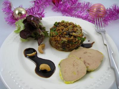 cuisine au foie gras : Foie gras aux lentilles et au vinaigre balsamique