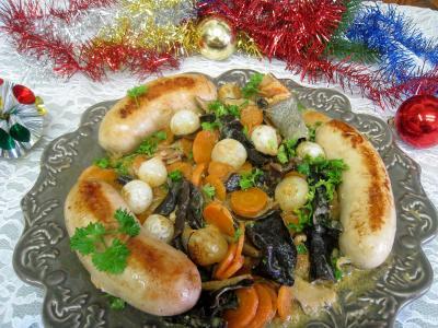 Recette Assiette de boudins blancs aux champignons et aux chiitakes