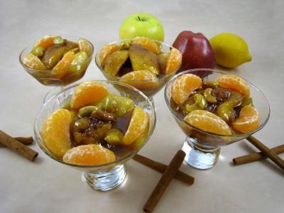 curcuma : Coupes de pommes et poires caramélisées
