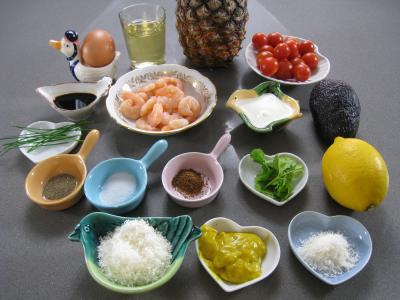 Ingrédients pour la recette : Salade à l'ananas exotique façon Pierrot