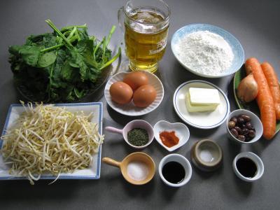 Ingrédients pour la recette : Crêpes farcies aux épinards façon chinoise