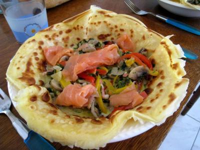 Recette Crêpes aux épinards, aux champignons et son saumon fumé