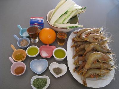 Ingrédients pour la recette : Crevettes à l'anis et sauce à l'orange