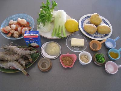 Ingrédients pour la recette : Crevettes flambées et sa sauce au citron et sa purée de fenouil